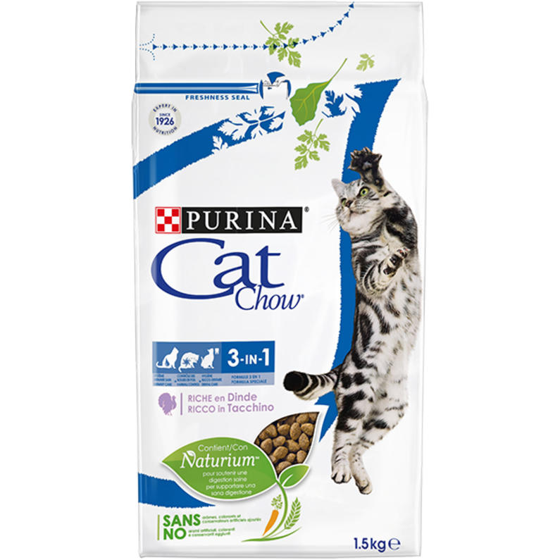 Cat Chow FELINE 3IN1 Rich in meat With Turkey 1.5kg